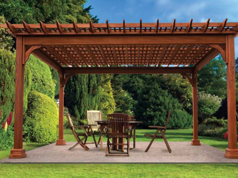 natural wood pergola for seating area