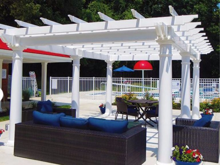 white pergola shade area