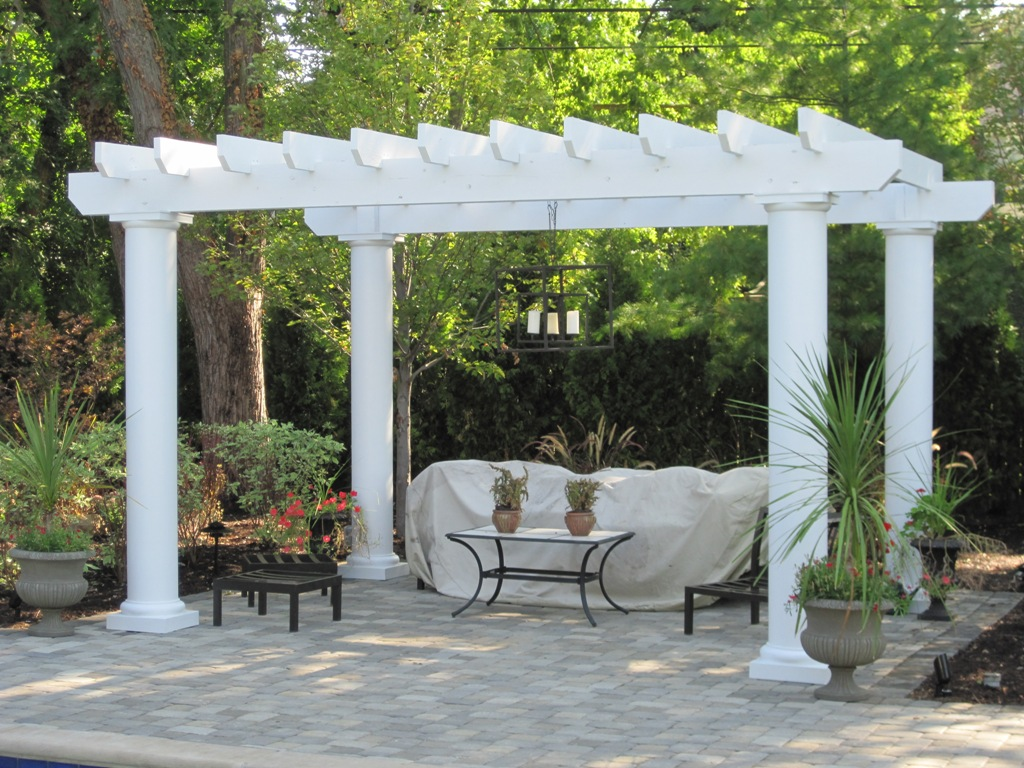 beautiful white plastic pergolas in the backyard